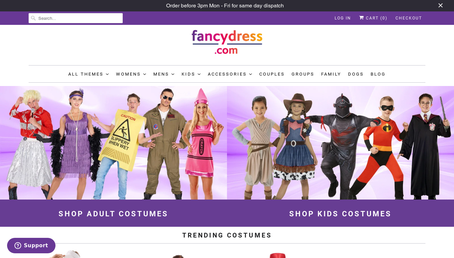 Angels Fancy Dress website screenshot