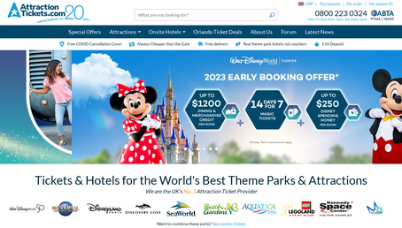 Attraction Tickets Direct UK website screenshot