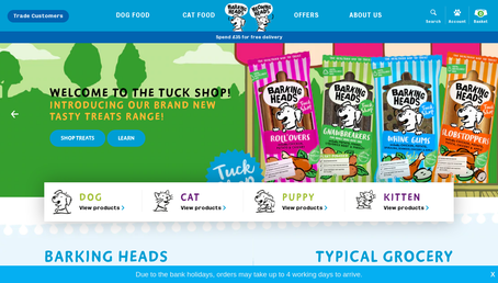 Barkings Heads & Meowing Heads (Dog and Cat food) website