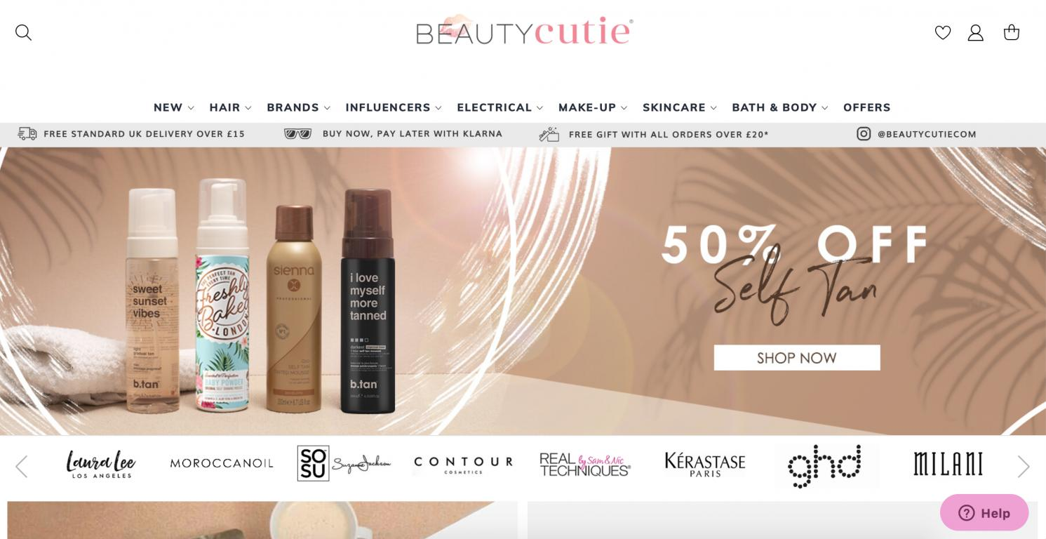 Beauty Cutie website screenshot