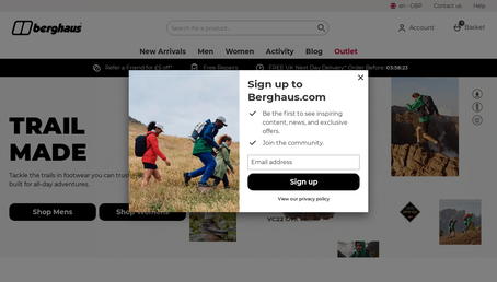Berghaus website screenshot