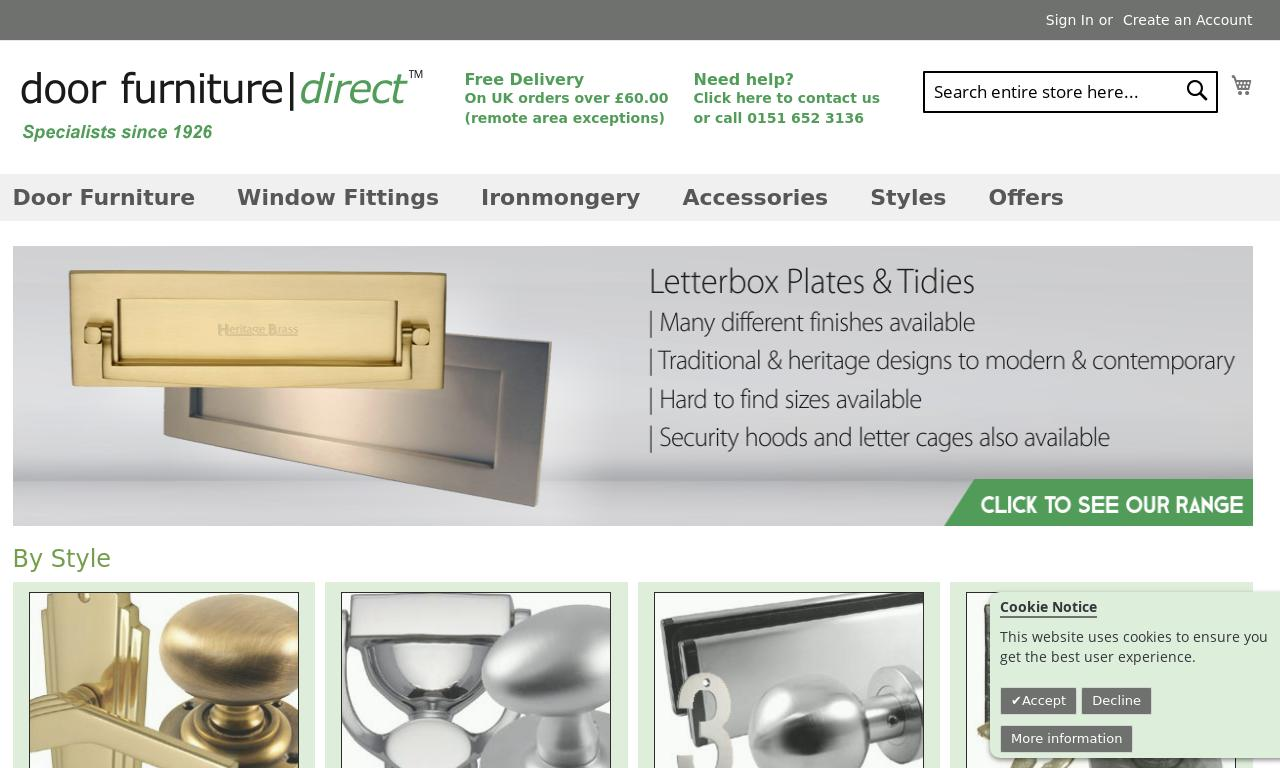 Bernards Door Furniture Direct website
