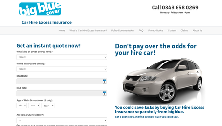 Big Blue Cover Car Hire Excess Insurance website