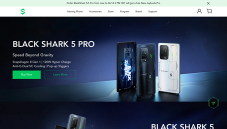 Black Shark UK website screenshot