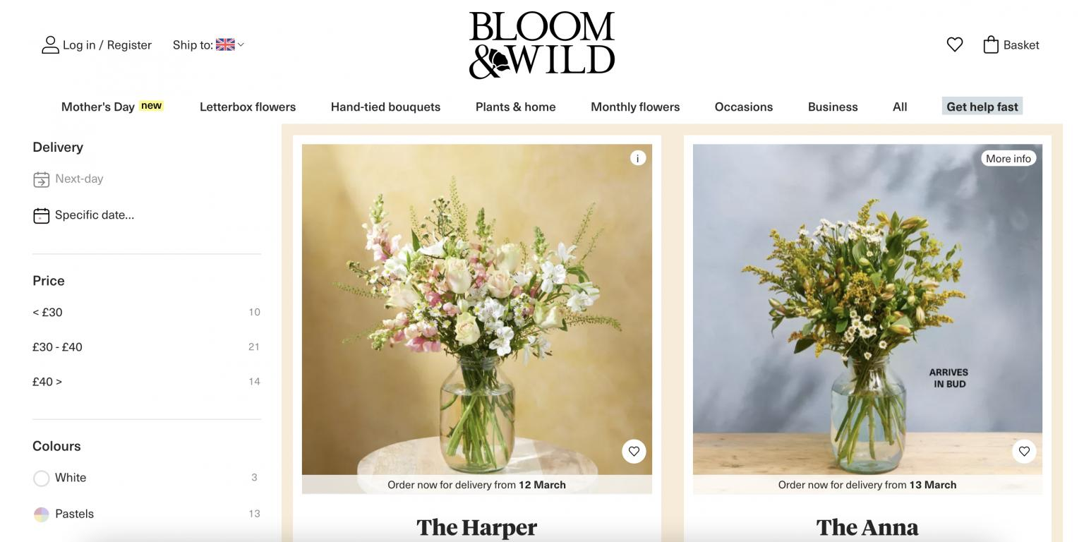 Bloom And Wild UK website