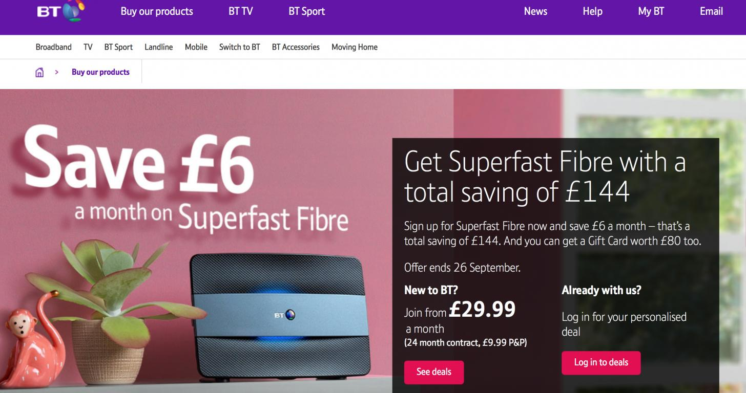 BT Broadband & Mobile website