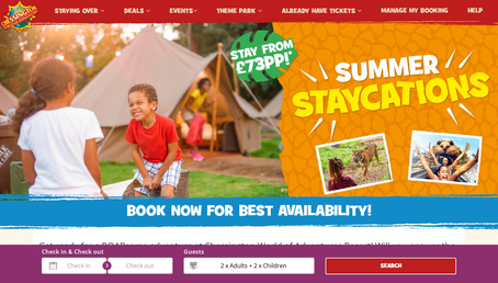 Chessington Holidays website screenshot