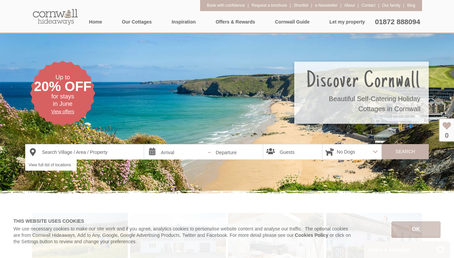 Cornwall Hideaways website