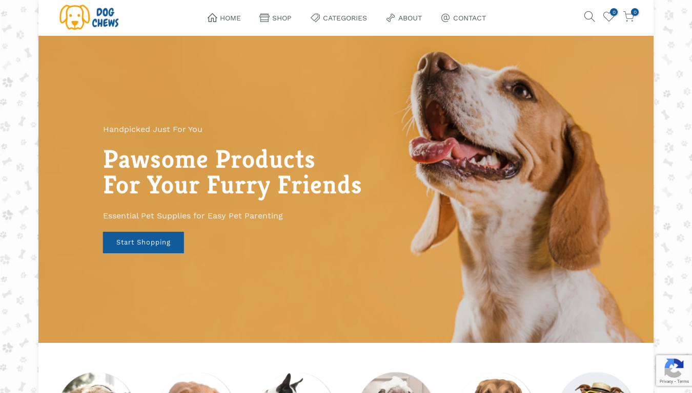 Dog Chews Store website