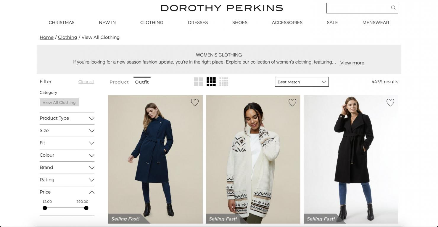 Dorothy Perkins UK website