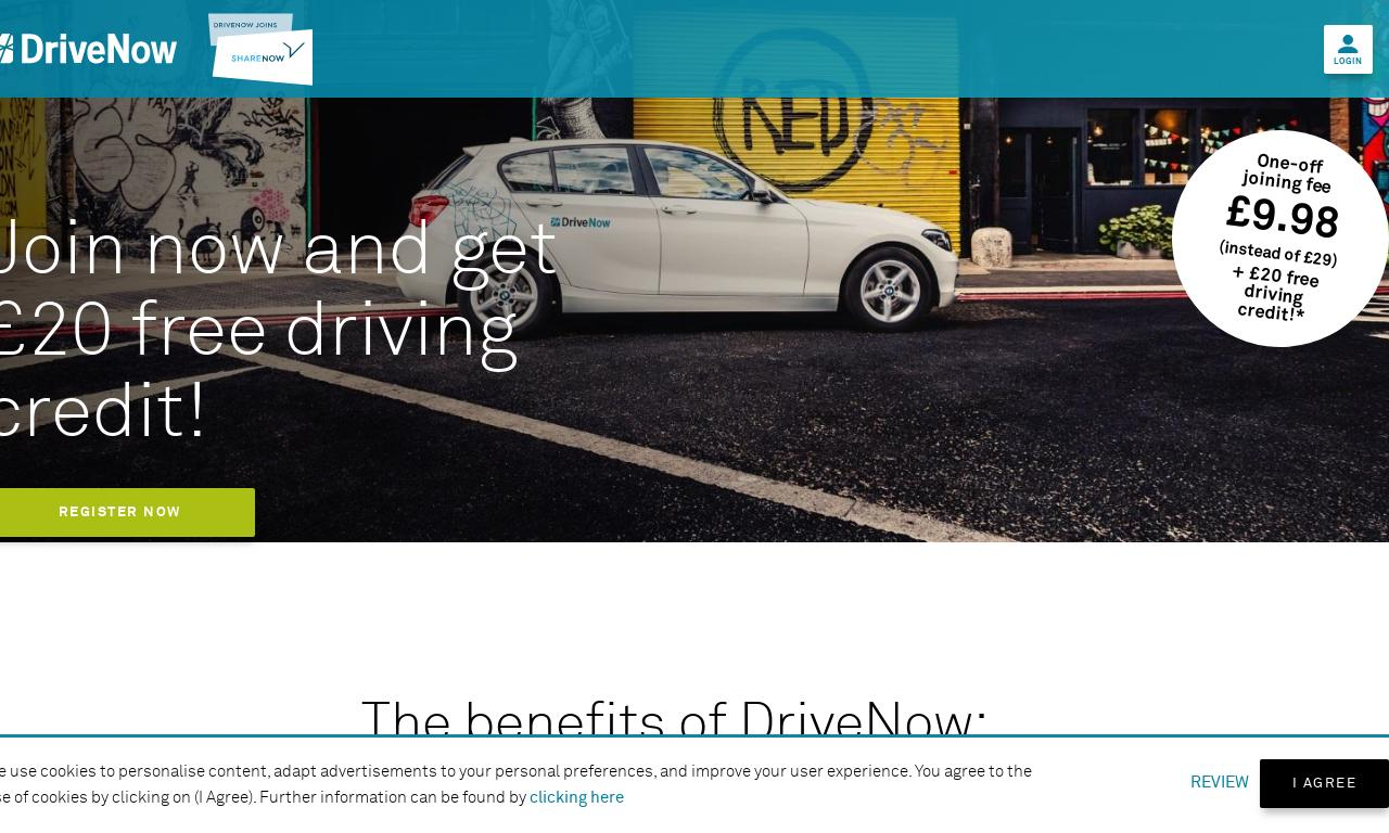 DriveNow UK website screenshot