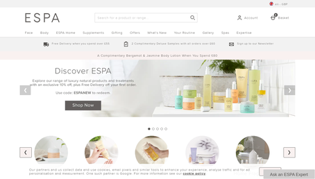 ESPA Skincare UK website screenshot