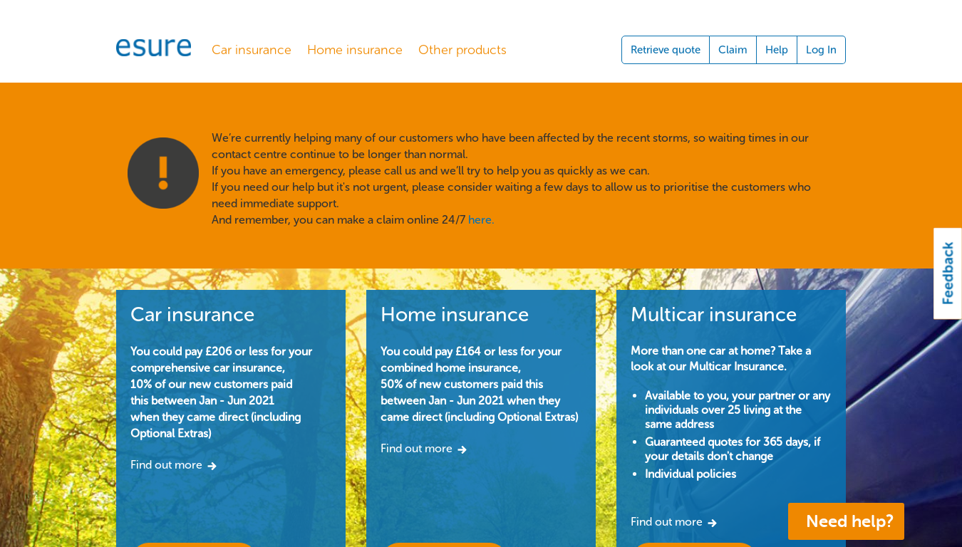 Esure Car Insurance website