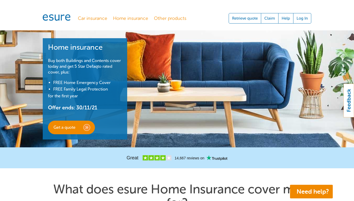 Esure Home Insurance website