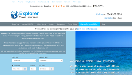 Explorer Travel Insurance website screenshot