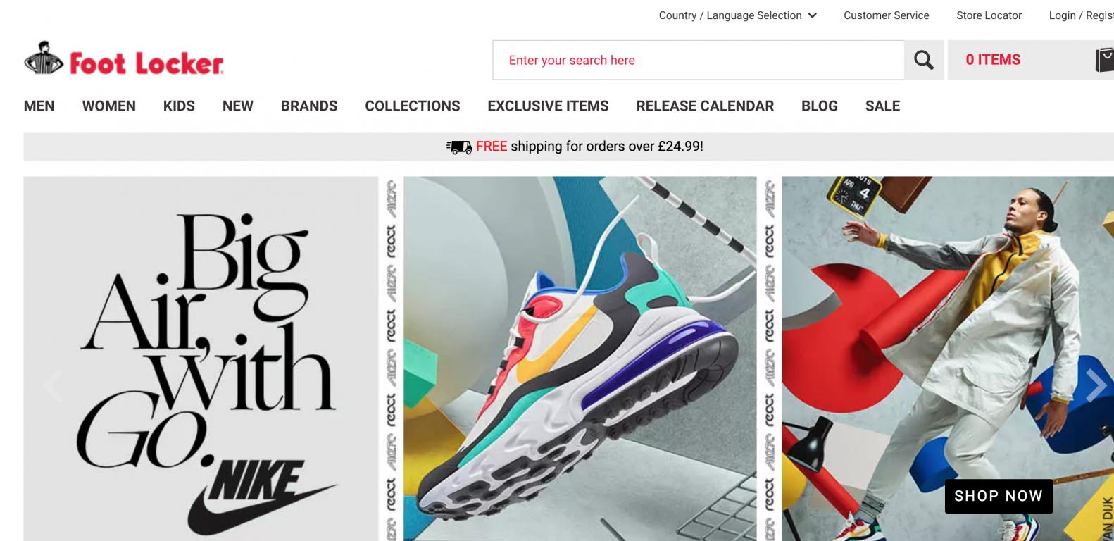 Foot Locker UK website screenshot