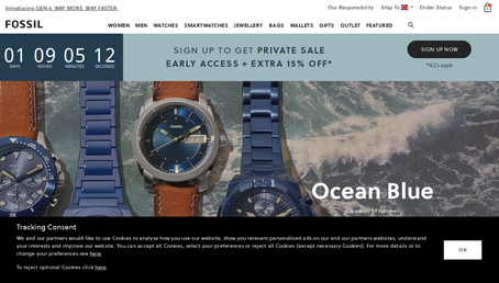 Fossil UK website