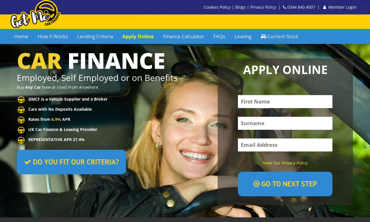 Get Me Car Finance website screenshot