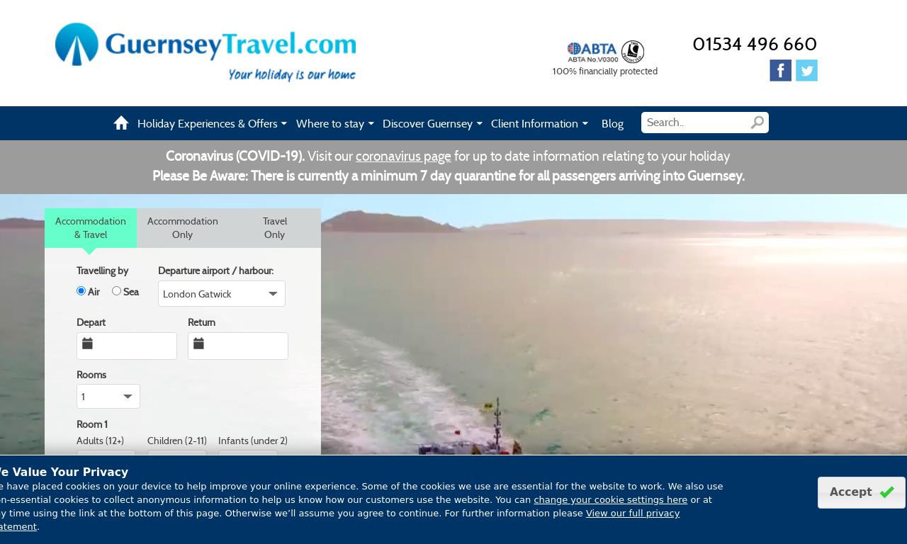 GuernseyTravel.com website screenshot