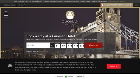 Guoman Hotels website screenshot