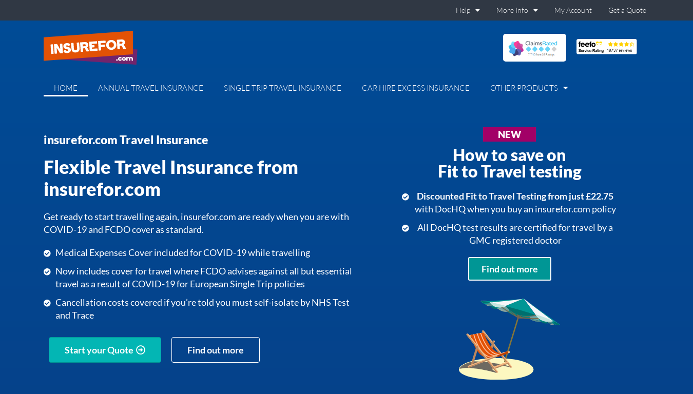 Insurefor Travel Insurance website