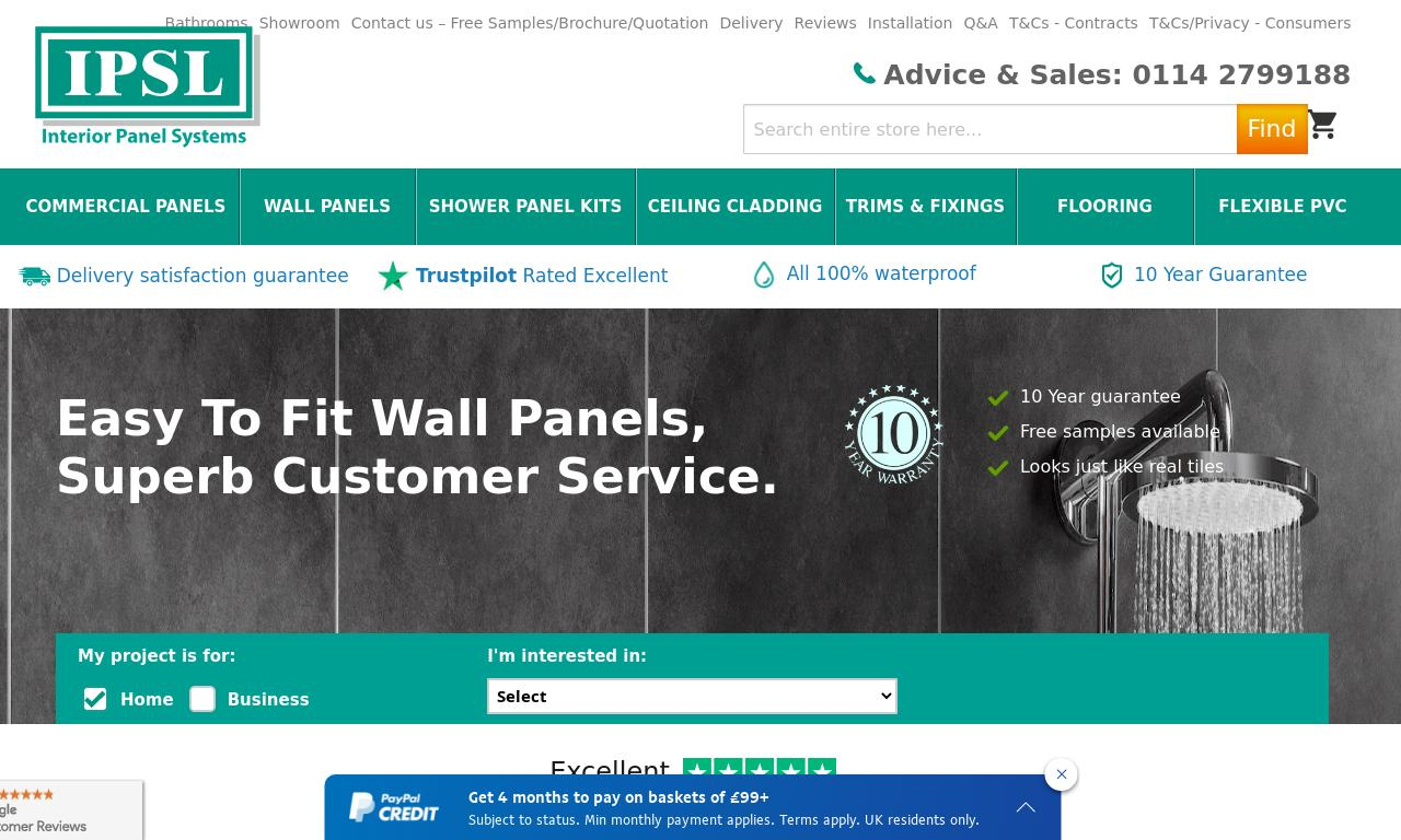 Interior Panel Systems Ltd website screenshot