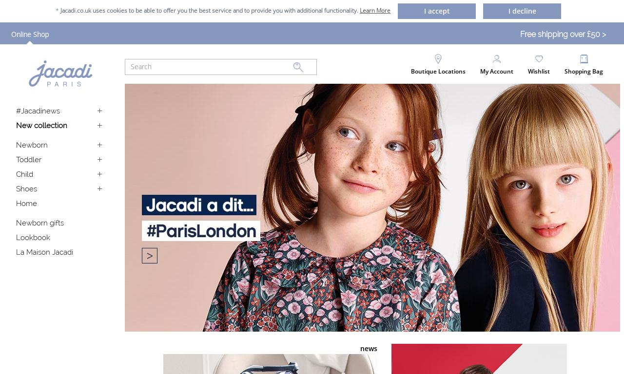 Jacadi UK website screenshot