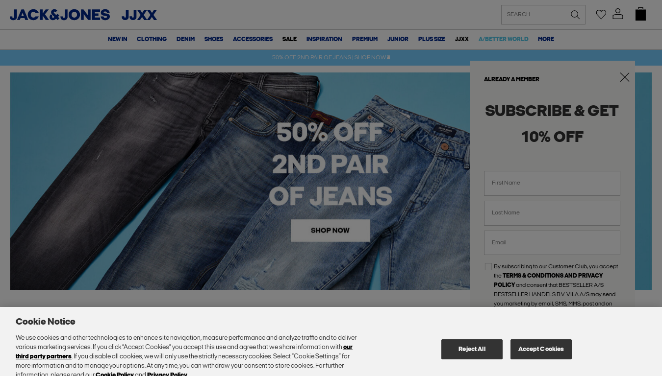 Jack & Jones UK website screenshot