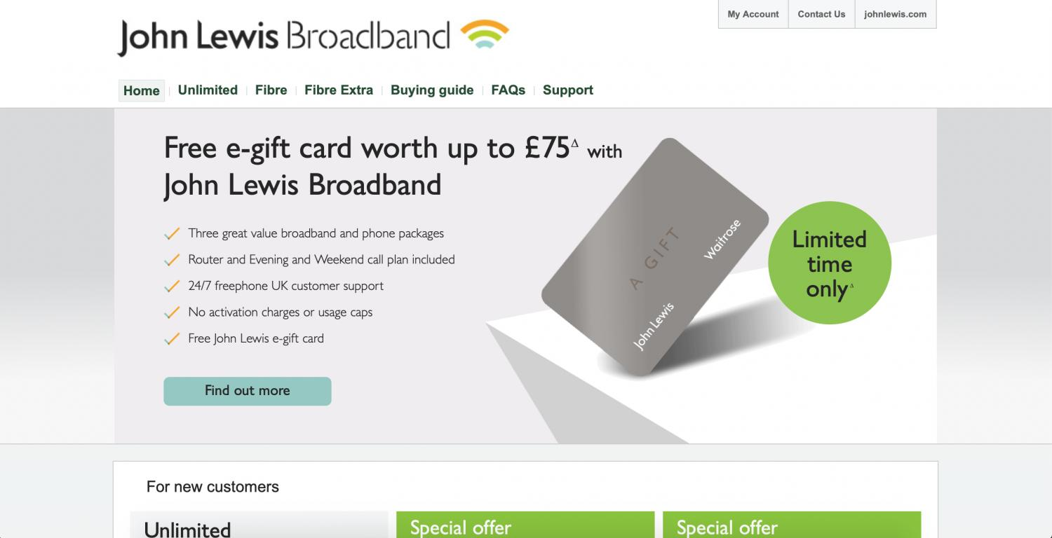 John Lewis Broadband website