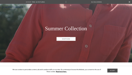 Joseph Turner Shirts website screenshot
