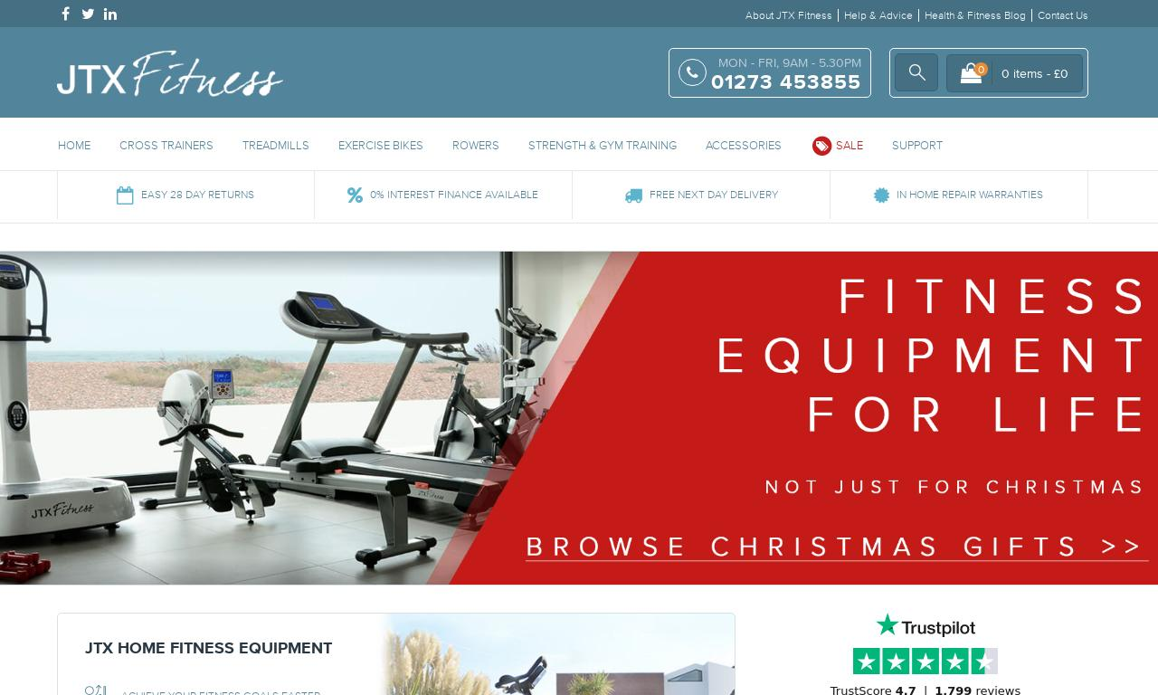 JTX Fitness website screenshot