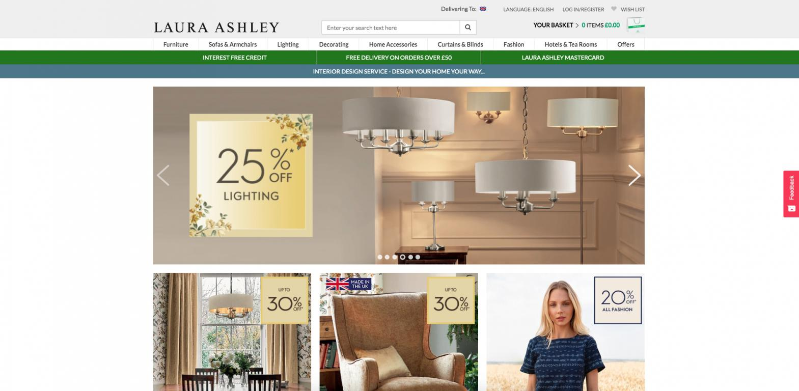 Laura Ashley website screenshot
