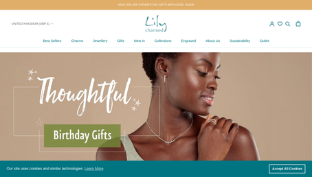 Lily Charmed website screenshot