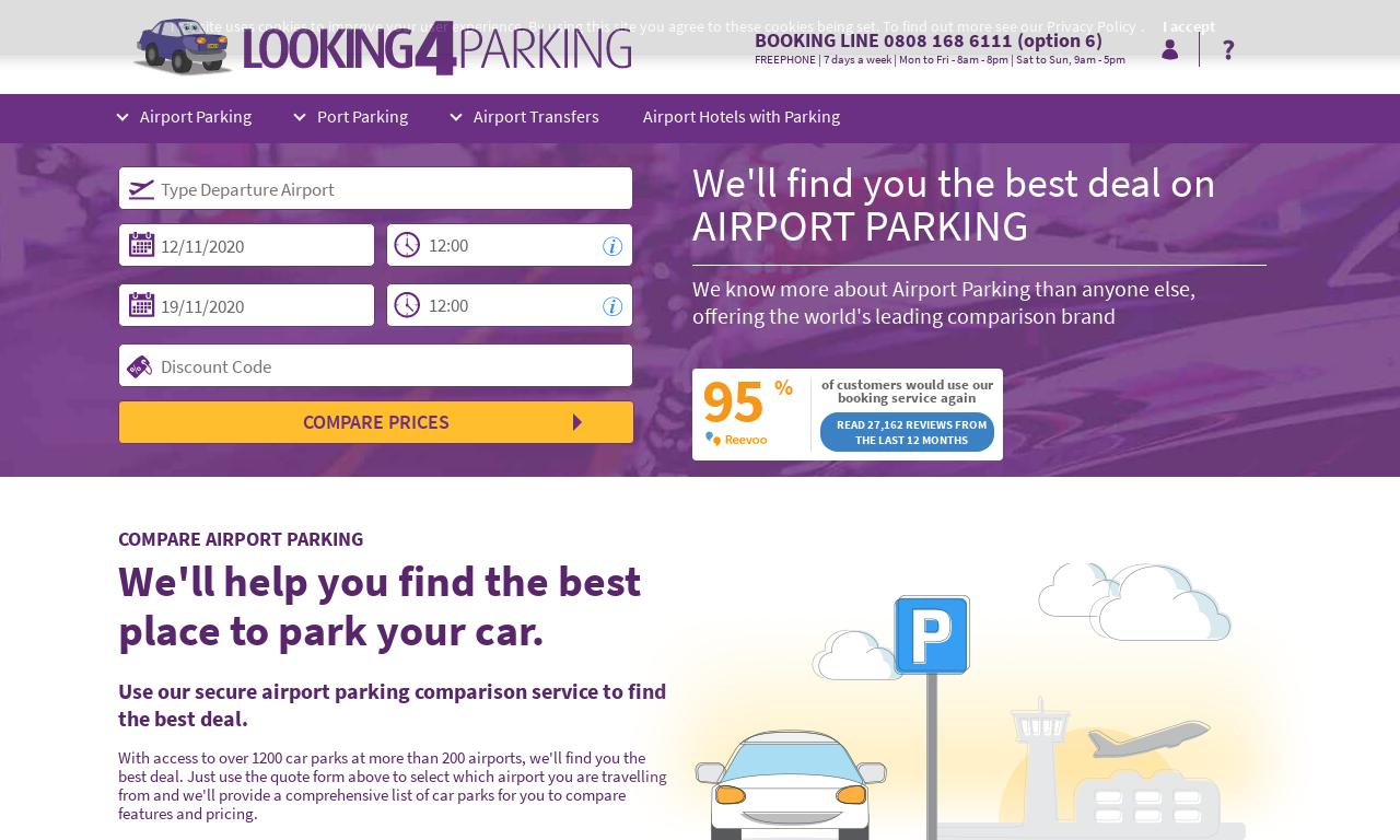 Looking4 – Airport Parking UK website screenshot