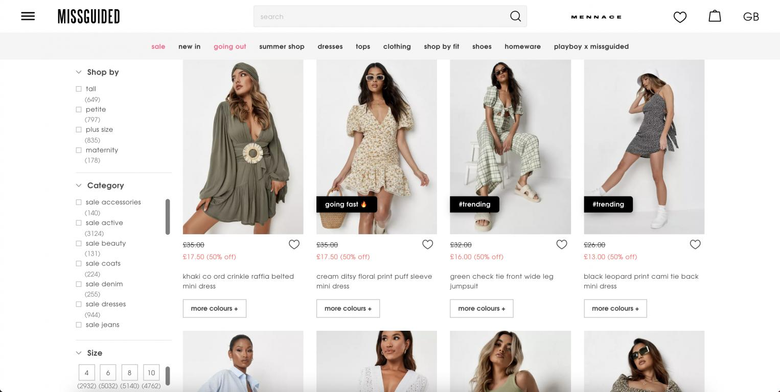 Missguided UK & IE website
