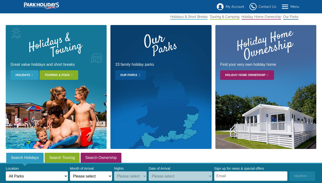 Park Holidays UK website