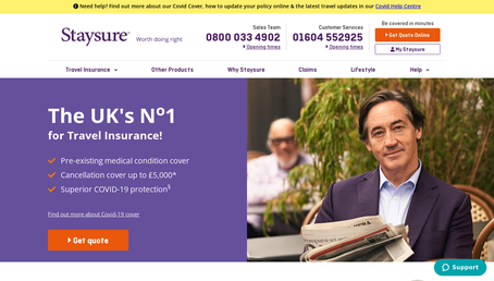 Staysure Travel Insurance website