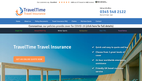 TravelTime Travel Insurance website