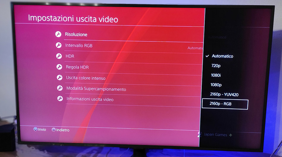 Uscita Video PS4 su TV Samsung RU8000TV 4K