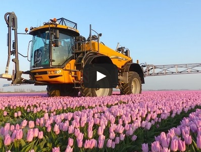 Amazing video captures 36m wide boom spraying tulips