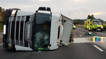Pics: 10-mile stretch of motorway closed after milk tanker crash