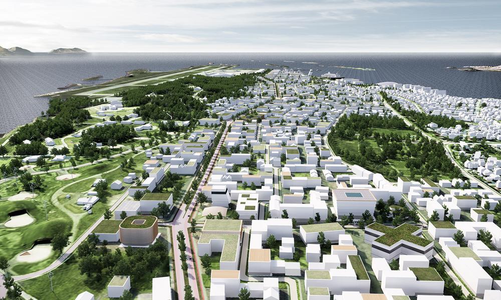 PILOT-PROSJEKT: COWI skal bidra til regjeringens nullvekstmål ved å gjøre det enklere for byer å planlegge alternativer til biltrafikk. Nye Bodø spiller en sentral rolle i dette prosjektet. Illustrasjon: Nordic - Office of Architecture.