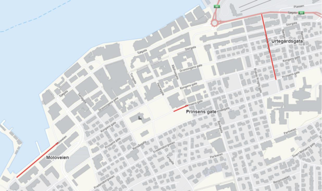 Her er gatene man kan sykle mot kjøreretningen. Foto: Skjermdump
