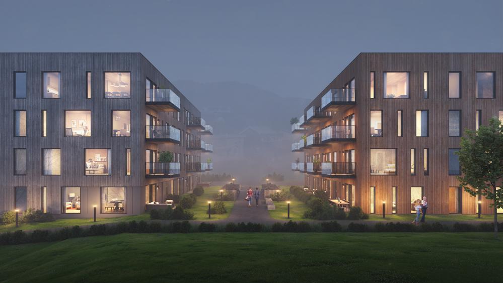 STEMNINGSFULLTl: De grønne boligene i Rønvik vil bli et verdifullt tilskudd til området og passer både for gamle og unge.