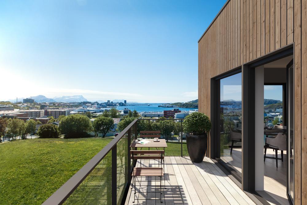 FLOTT UTSIKT: Fra fjerde etasje har du en enestående utsikt over Bodø og havet utenfor.