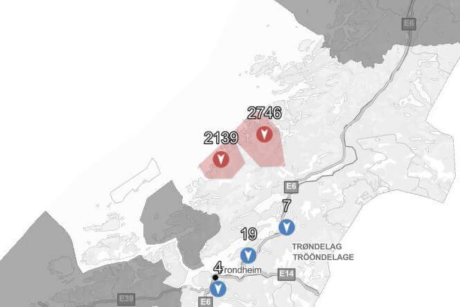 Kartet viser hvilke områder som nå er uten strøm. (Kart: Tensio)