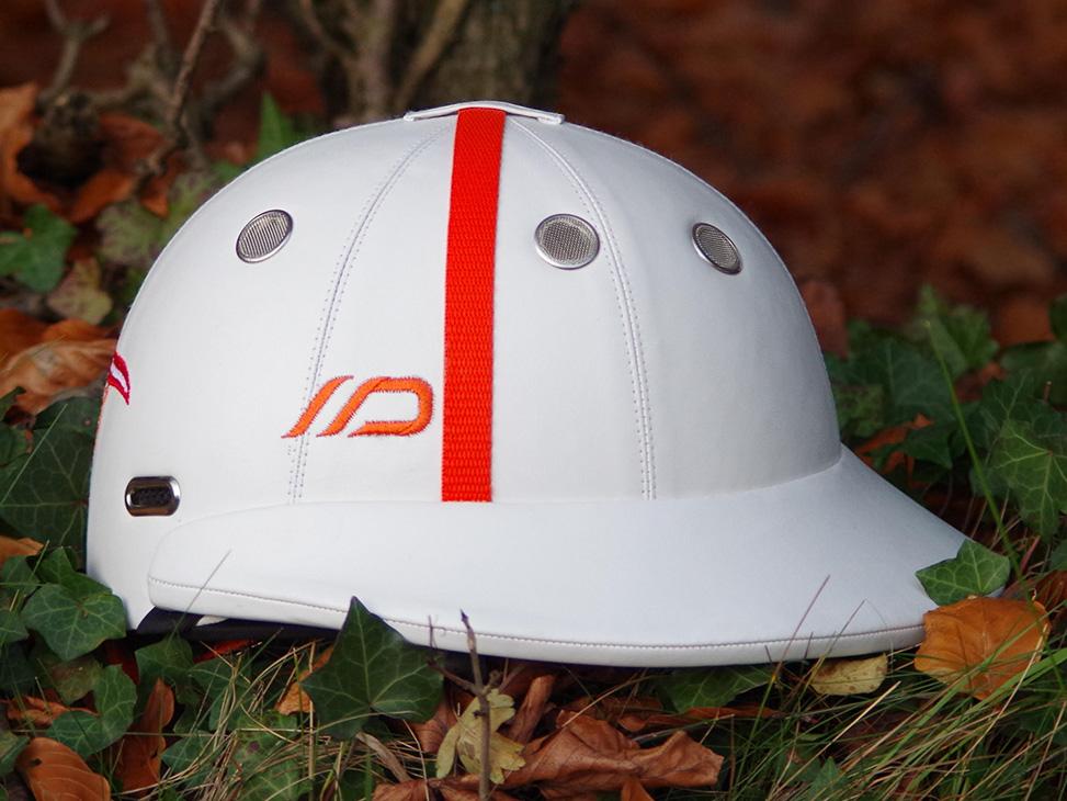 White Polo Helmet with Orange Band