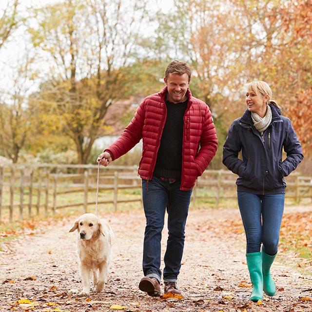 Couple and Dog Walking