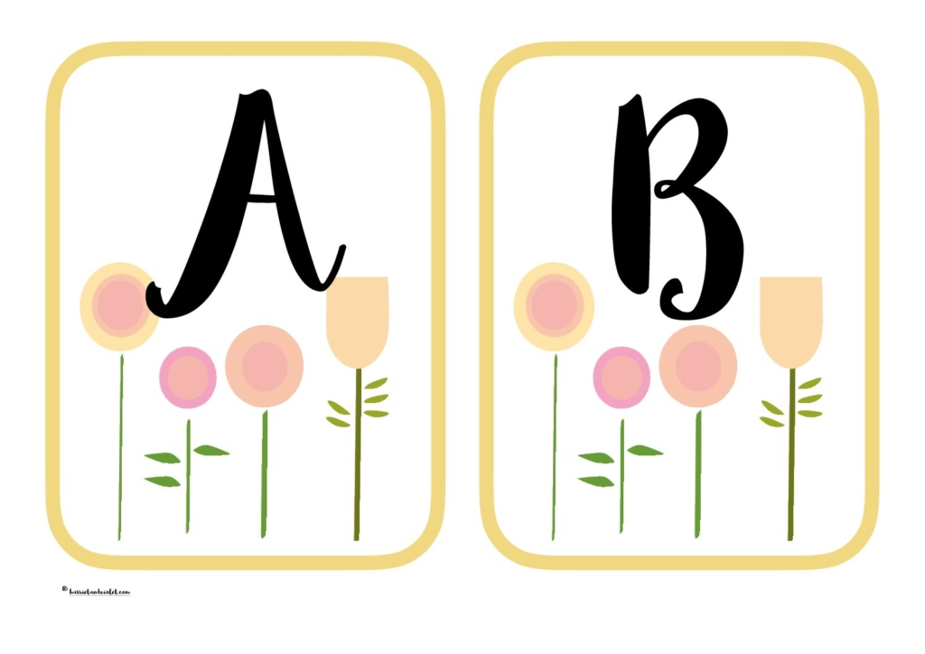 Flower alphabet display or flashcards A-Z capital letters