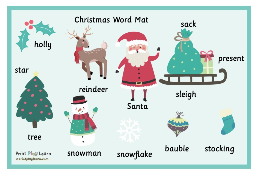 green background and border christmas image words